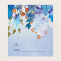 Watercolor Leaves Monogram Wedding Place Cards