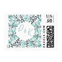 Watercolor Leaves Monogram Wedding Postage