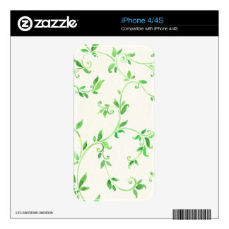 Watercolor leaves pattern decals for iPhone 4
