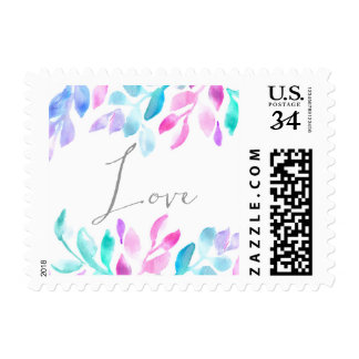 Watercolor Leaves Postage Stamp