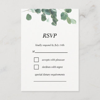 Watercolor leaves RSVP card