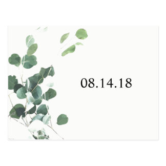 Watercolor leaves save the date postcard