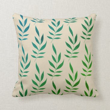 Beach Themed Watercolor Leaves Tan Pillow