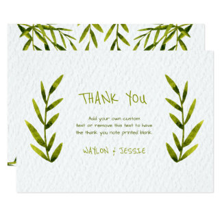Watercolor Leaves Thank You Cards