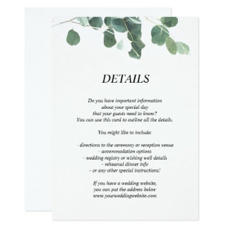 Watercolor leaves wedding details/information card