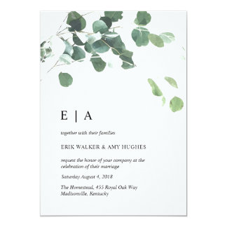 Watercolor leaves wedding invitation