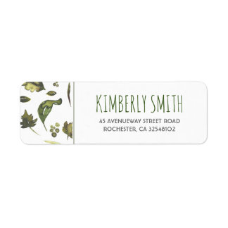 Watercolor Leaves Wedding Label