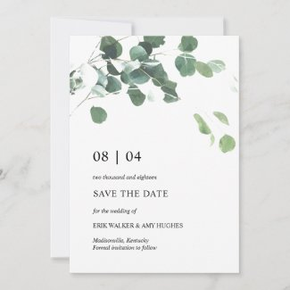 Watercolor leaves wedding save the date