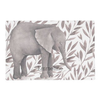 Watercolor Leaves with Elephant Personalized Placemat