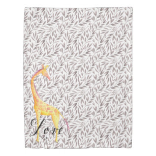 Watercolor Leaves With Giraffe Love Duvet Cover at Zazzle