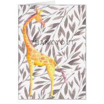 Watercolor Leaves with Giraffe Thank You