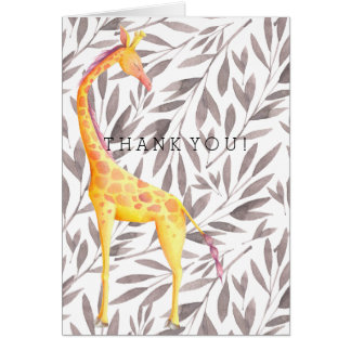 Watercolor Leaves with Giraffe Thank You Card