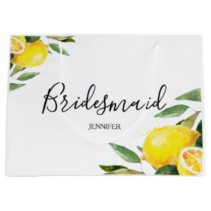 5466f59e8 Watercolor Lemon and Leaves Bridesmaid Large Gift Bag
