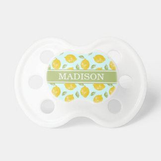 Watercolor Lemon and Leaves Pattern BooginHead Pacifier