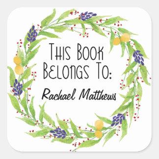 Watercolor Lemon Berry Wreath Bookplate Square Sticker