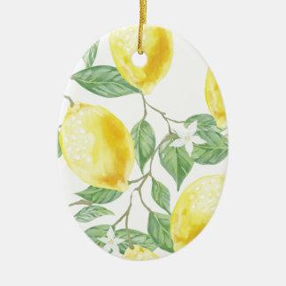 Watercolor Lemon Ceramic Ornament