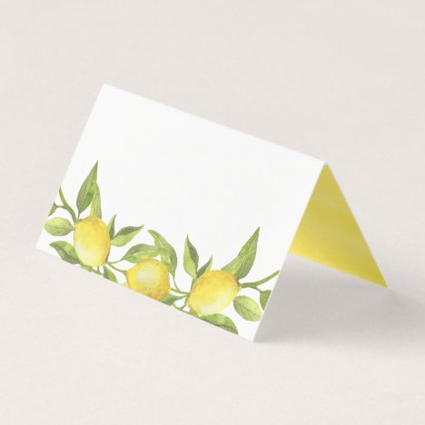 Watercolor Lemon Greenery Garland Wedding Place Card
