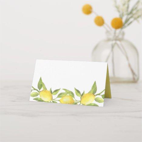 Watercolor Lemon Greenery Garland Wedding Place Card