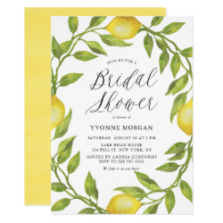 Watercolor Lemon Greenery Wreath Bridal Shower Invitation