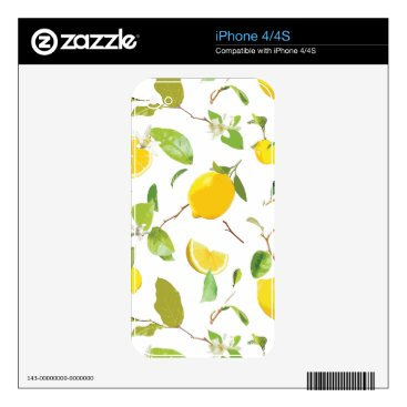 Watercolor Lemon & Leaves 2 Decal For iPhone 4