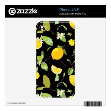 Watercolor Lemon & Leaves Decal For iPhone 4