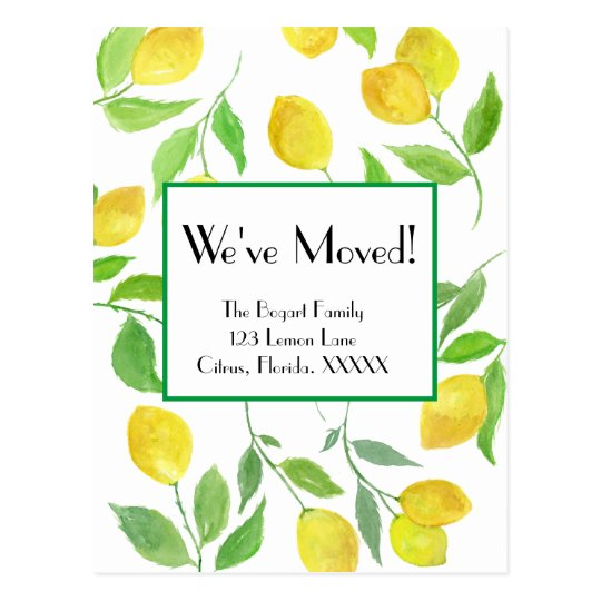 Watercolor Lemon Pattern We've Moved Postcard