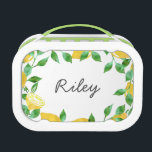 """Watercolor Lemon Personalized Lunchbox<br><div class=""""desc"""">Lunchbox features a crop of juicy lemons and vibrant leaves in pretty watercolors. Customize with a name,  monogram or text of your choice!</div>"""