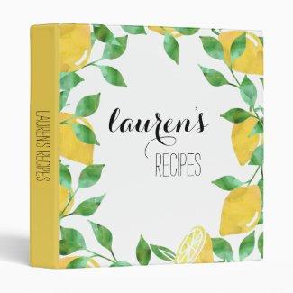 Watercolor Lemon Personalized Recipe Binder
