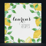 """Watercolor Lemon Personalized Recipe Binder<br><div class=""""desc"""">Our summery and sweet recipe binder design features your name or text of choice nestled in a crop of yellow watercolor lemons and vibrant green leaves. Makes a great bridal shower gift when filled with special recipes collected from guests!</div>"""
