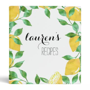 RedwoodAndVine Watercolor Lemon Personalized Recipe Binder