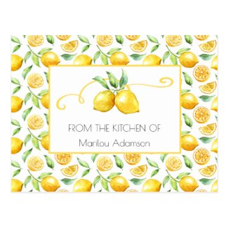 Watercolor Lemons and Green Leaves Recipes | Postcard