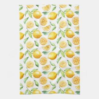 Watercolor Lemons and Leaves | Hand Towel