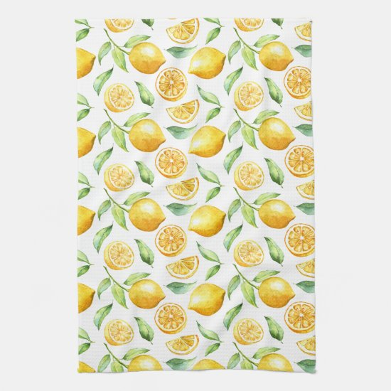 Watercolor Lemons and Leaves | Kitchen Towel