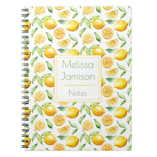 Watercolor Lemons and Leaves Monogram Notebook