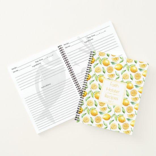 Watercolor Lemons and Leaves Recipe Book
