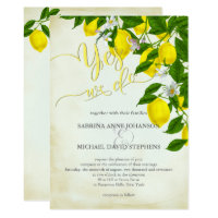Watercolor Lemons  Blossoms and Greenery Wedding Card
