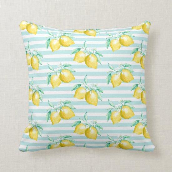 Watercolor Lemons Greenery on Light Blue Stripes | Throw Pillow