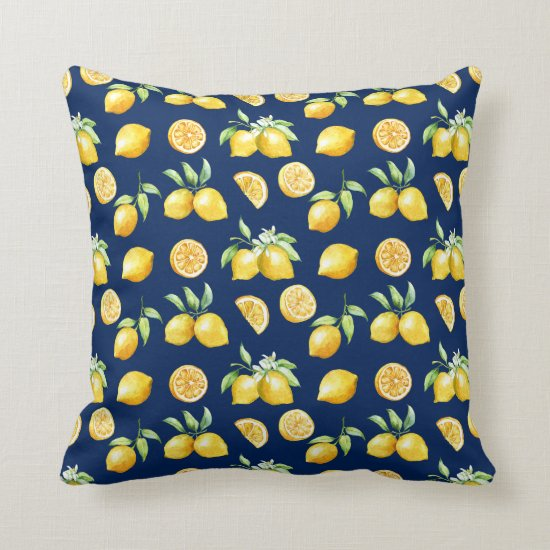 Watercolor Lemons Greenery on Navy Background | Throw Pillow