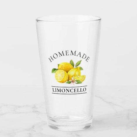 Watercolor Lemons Homemade Limoncello Glass