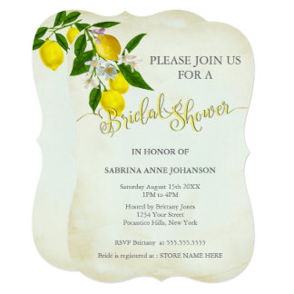 Watercolor Lemons & Leaves Bridal Shower Card
