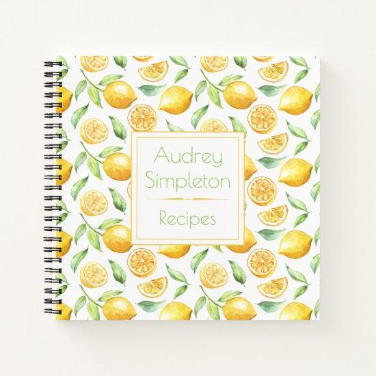 Watercolor Lemons Leaves Square Recipe Book |