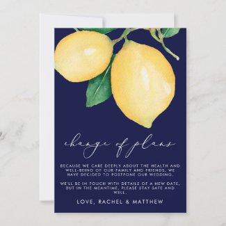 Watercolor Lemons Wedding Change of Plans Announcement