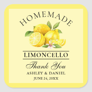Watercolor Lemons Wedding Thanks Limoncello Yellow Square Sticker