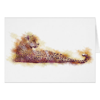 Watercolor Leopard Greeting Card