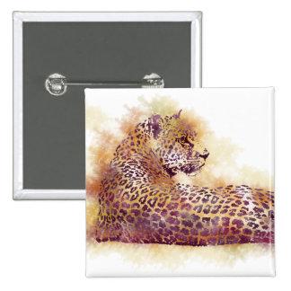 Watercolor Leopard Pinback Button