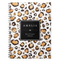 Watercolor Leopard Spots   Custom Name Notebook