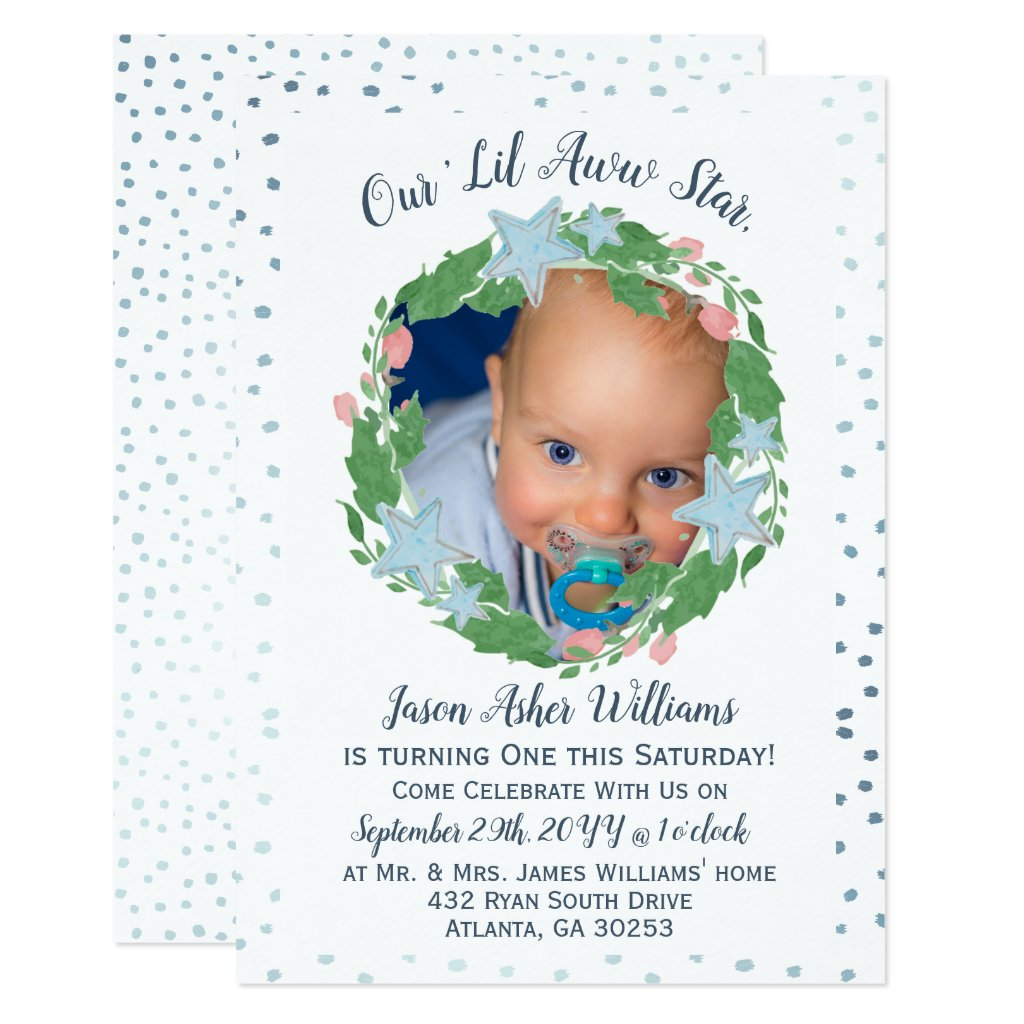 Watercolor Light Blue Star Wreath First Birthday