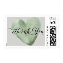 Watercolor Light Pale Green Heart Thank You Postage