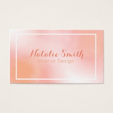 Professional Business Watercolor Light Pink and Peach Business Cards
