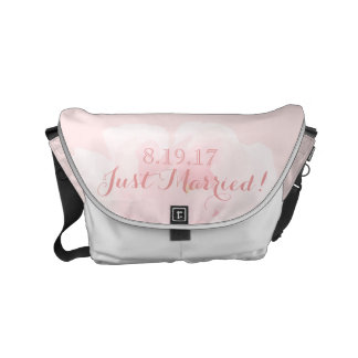 Watercolor Light Pink Peony Wedding Just Married Small Messenger Bag